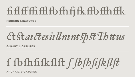 Ligatures in Hoefler Text