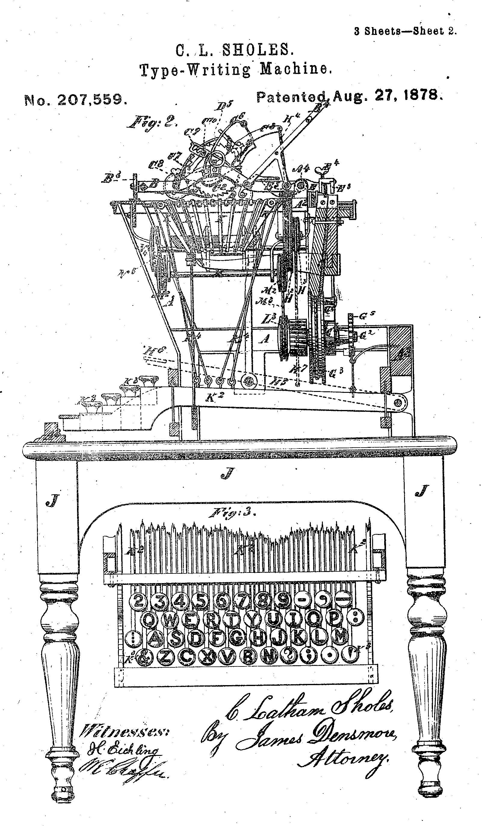 Page 2 of Christopher Latham Sholes' 1878 typewriter patent, showing the mysterious '⋮' on the leftmost key of the third row. (Image courtesy of Google Patent Search.)
