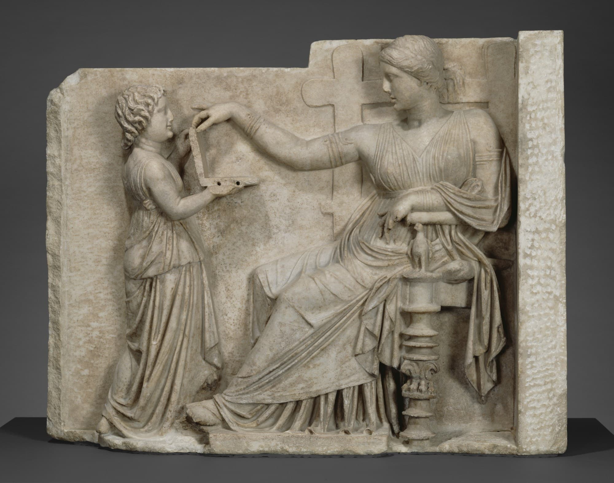 Grave Relief of an Enthroned Woman with an Attendant. (Digital image courtesy of the Getty's Open Content Program.)