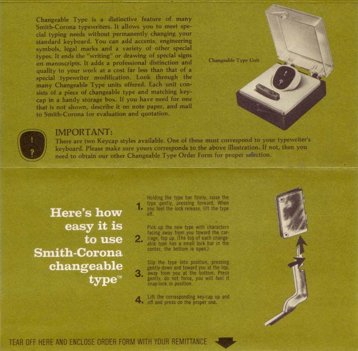 A 1969 brochure from Smith-Corona showing their interchangeable interrobang key.