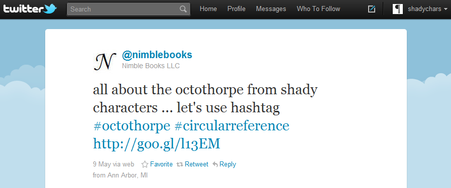 Nimble Books uses the recursive hashtag '#octothorpe'