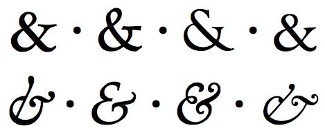 Roman and italic ampersands