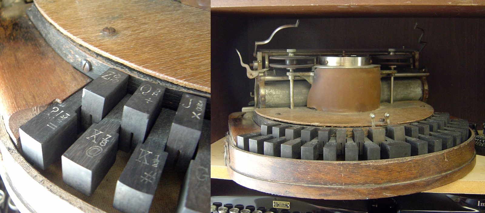 The '@' symbol on the keyboard of an 1889 Hammond typewriter