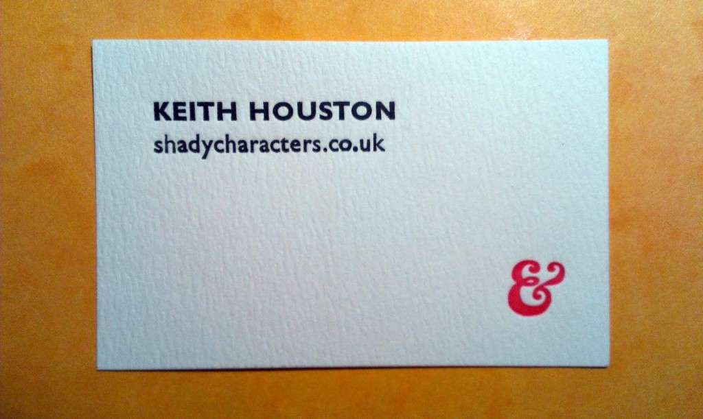 A letterpress Shady Characters business card.