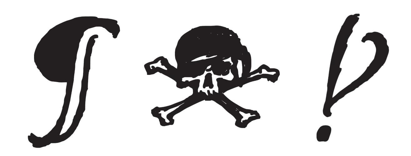 "A pilcrow, skull and crossbones, and interrobang from Captain Quill. Jim explained that the skull & bones is mapped to Unicode's own skull-and-bones symbol (Unicode 2620, or '☠'), but that it is also encoded to the 'notdefined' character -- when a specified character is not available, a grinning skull will appear in its place. In addition, Jim said, ""ALL CAPS setting was forbidden due to their swashbuckling nature. So if you tried to set all caps, the text would automatically be replaced with skull & bones. You'd have to turn off contextual alternates to get around this feature. I got away with this for a while, but I think that feature has been removed since then."" (Captain Quill™ is a trademark of Ascender.)"