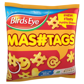"Birds Eye ""Mashtags"": ""PREFRIED POTATO SHAPES MADE WITH FRESHLY MASHED POTATOES [sic]""."