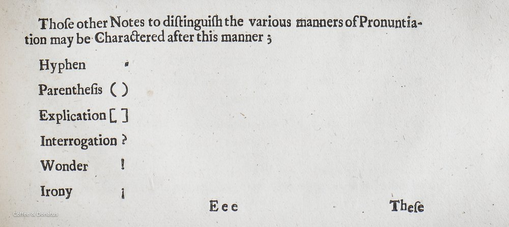 "John Wilkins' ""other Notes to distinguish the various manners of Pronuntiation"""