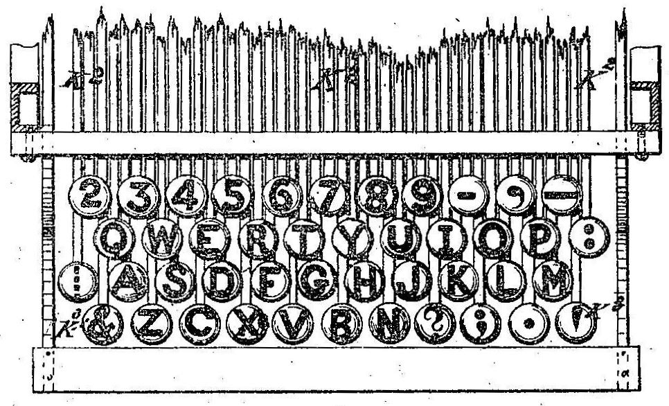 Detail from page 2 of Christopher Latham Sholes' 1878 typewriter patent, showing the '⋮' on the leftmost key of the third row. This was likely similar to the keyboard arrangement present on Mark Twain's 1874 Remington № 1. (Image courtesy of Google Patent Search.)