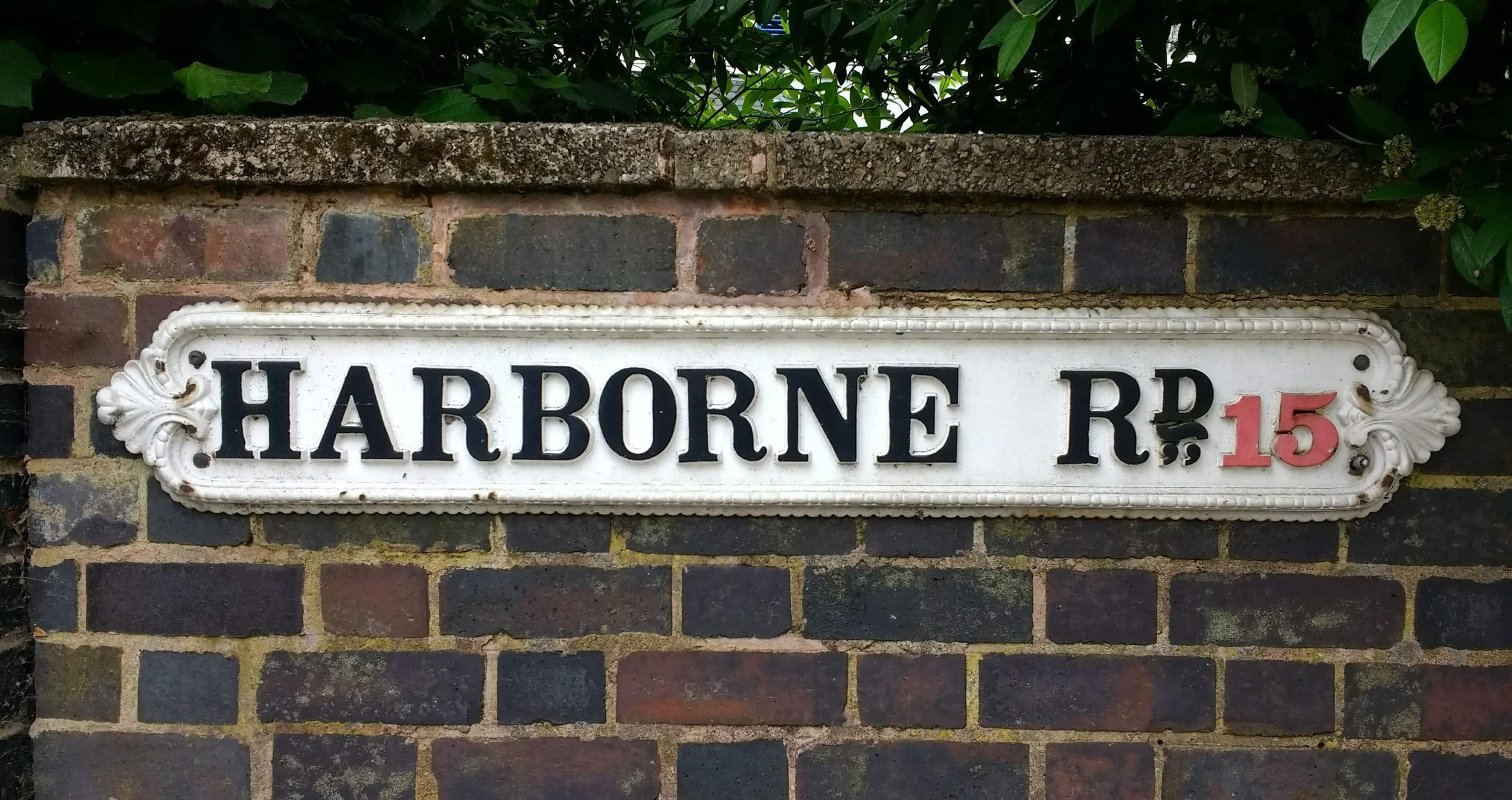 Cast-iron street sign for Harborne Road, Birmingham
