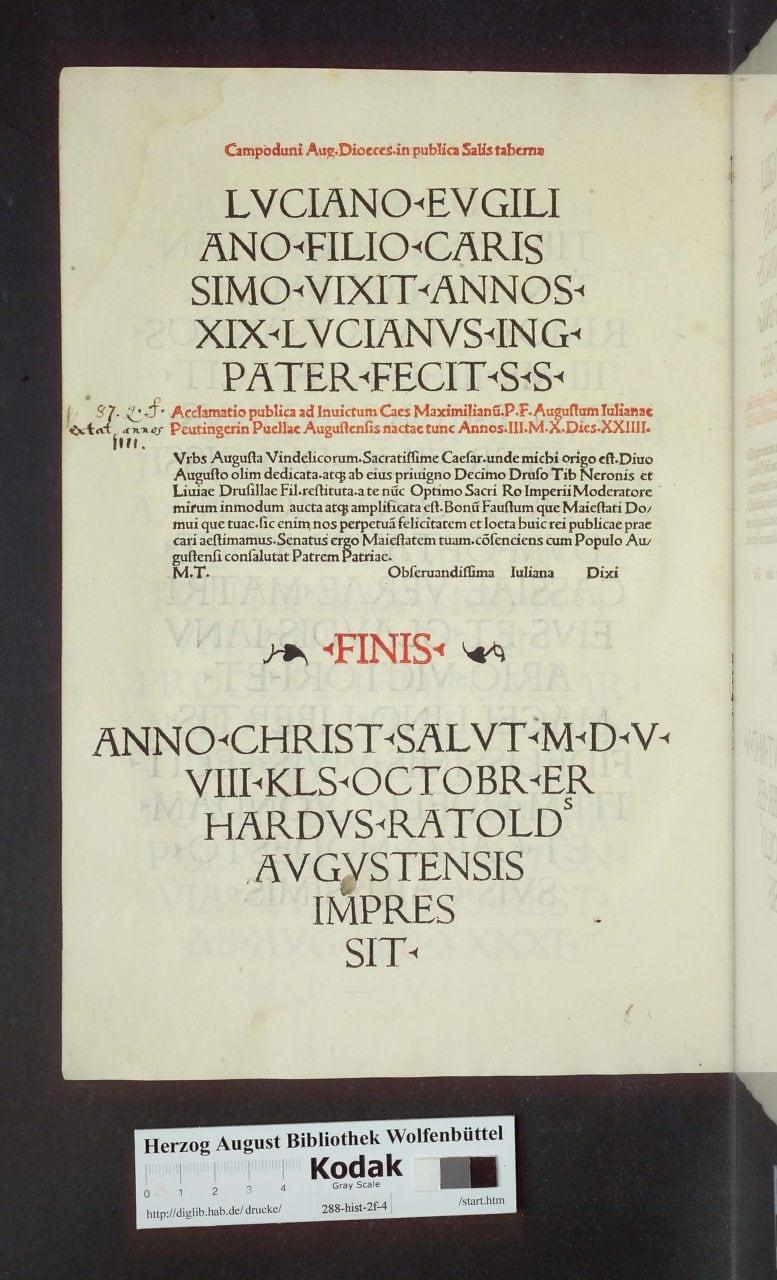 Typographic hedera in Konrad Peutinger's Romanae Vetvstatis Fragmenta In Avgvsta Vindelicorvm Et Eivs Dioecesi