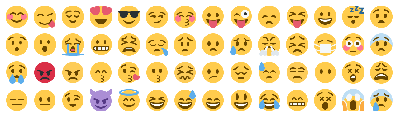 Yellow-skinned smileys in Twitter's 2014 emoji