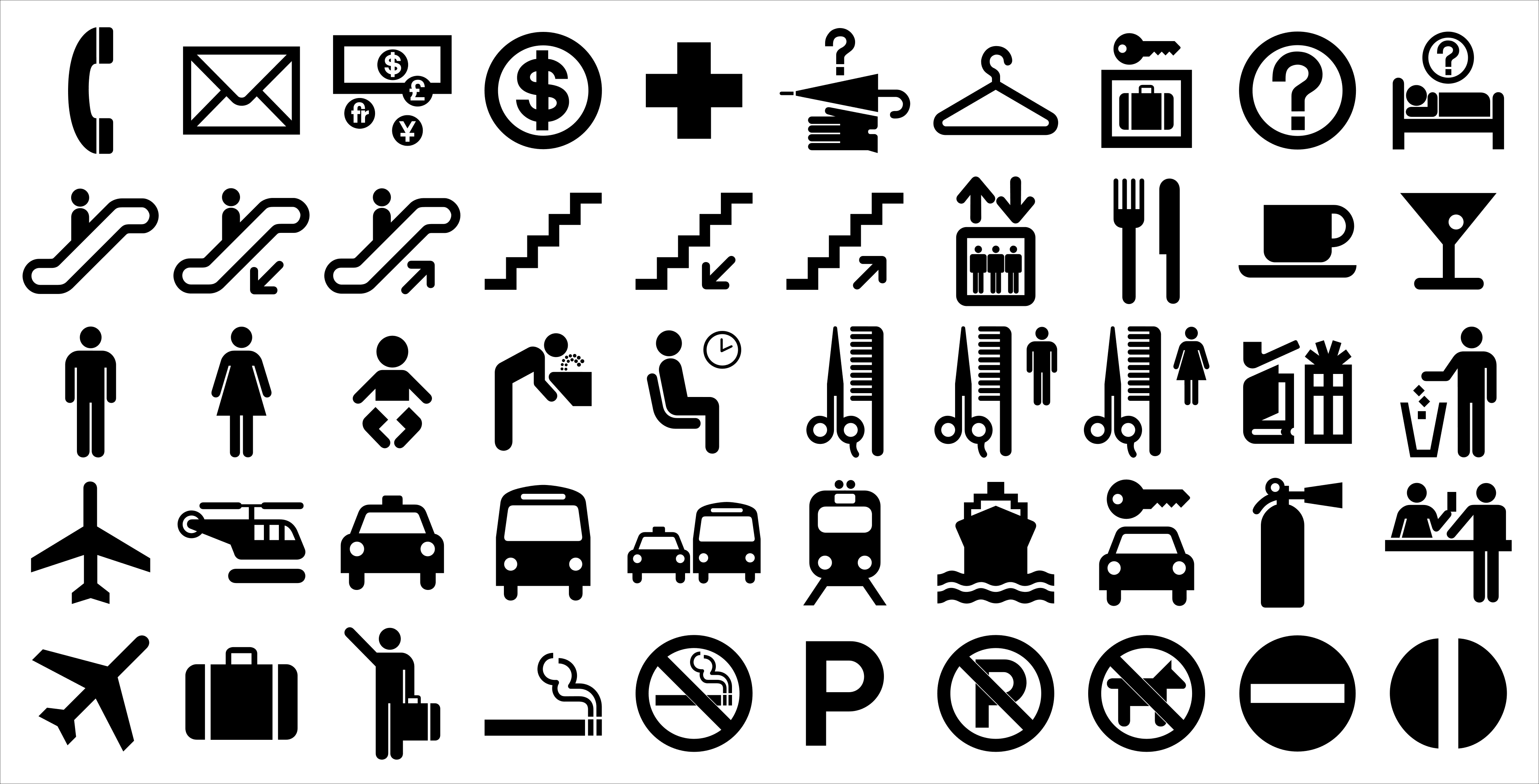 DOT symbols designed by the AIGA