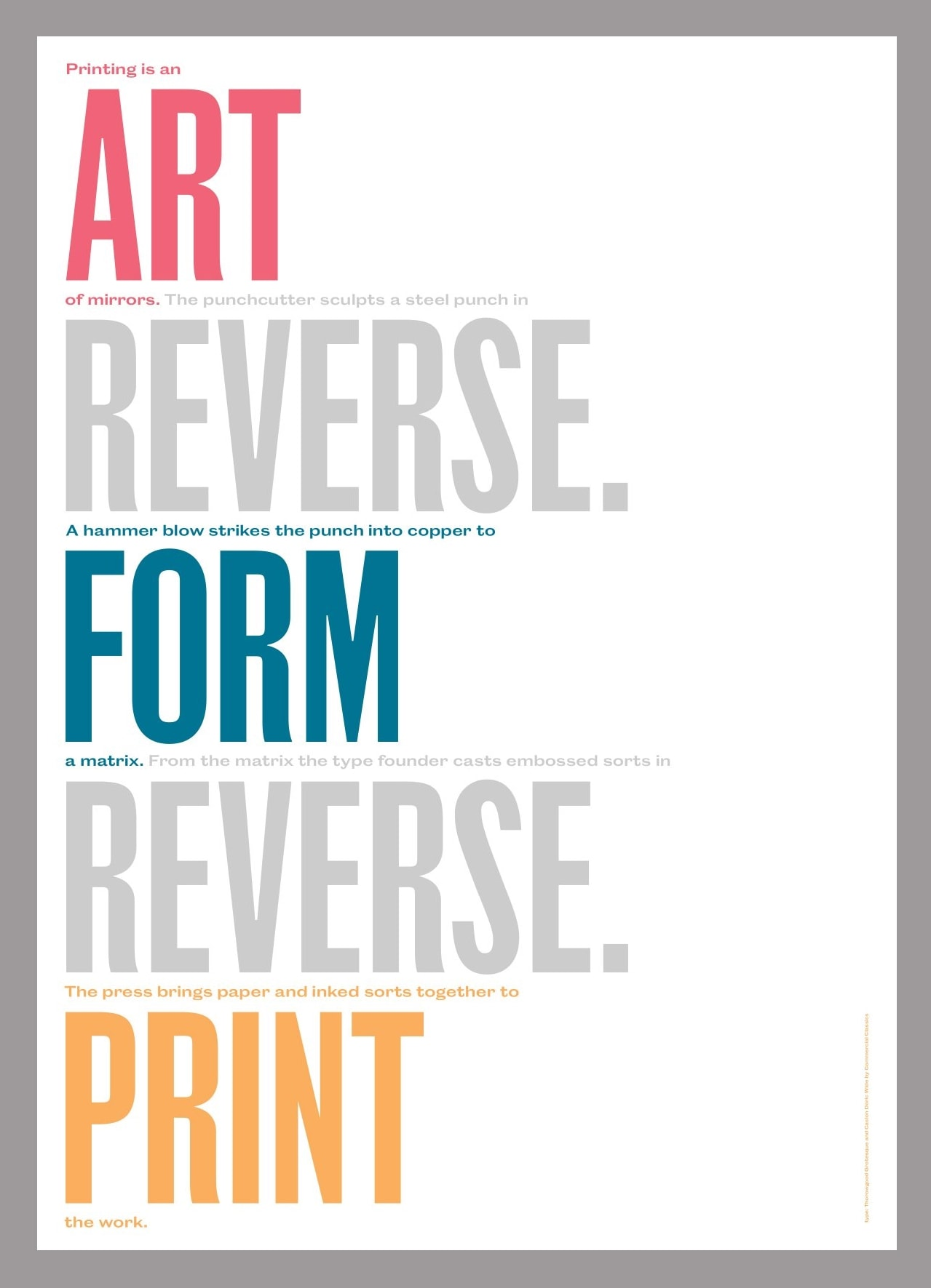 Typographic poster by Tom Etherington and Keith Houston featuring show-through text printed in reverse
