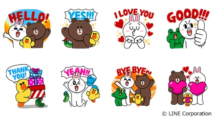 Graphical stickers designed by Line in collaboration with Unicef