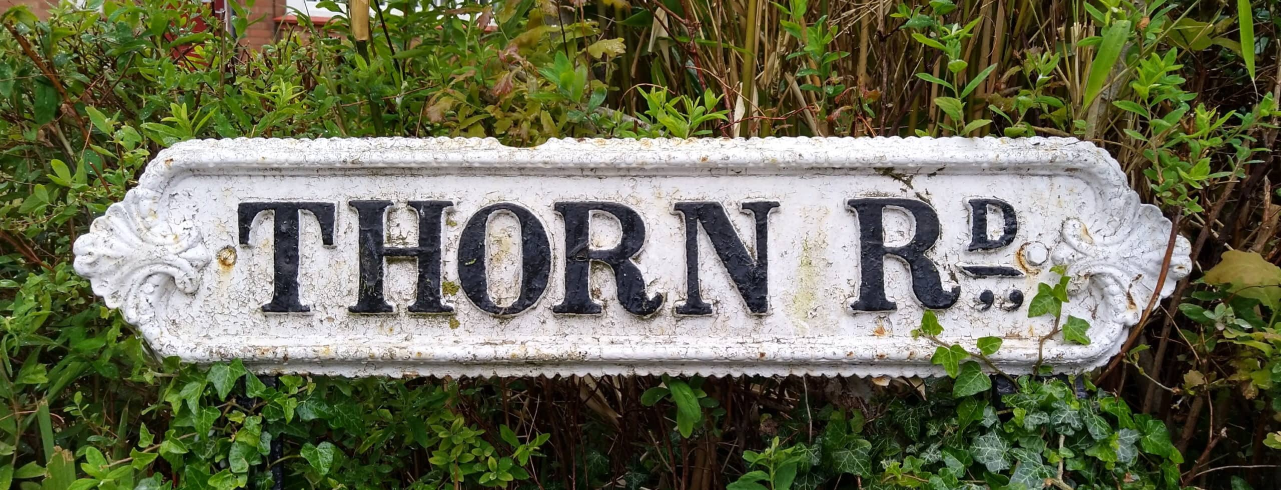 Cast-iron street sign for Thorn Road, Birmingham