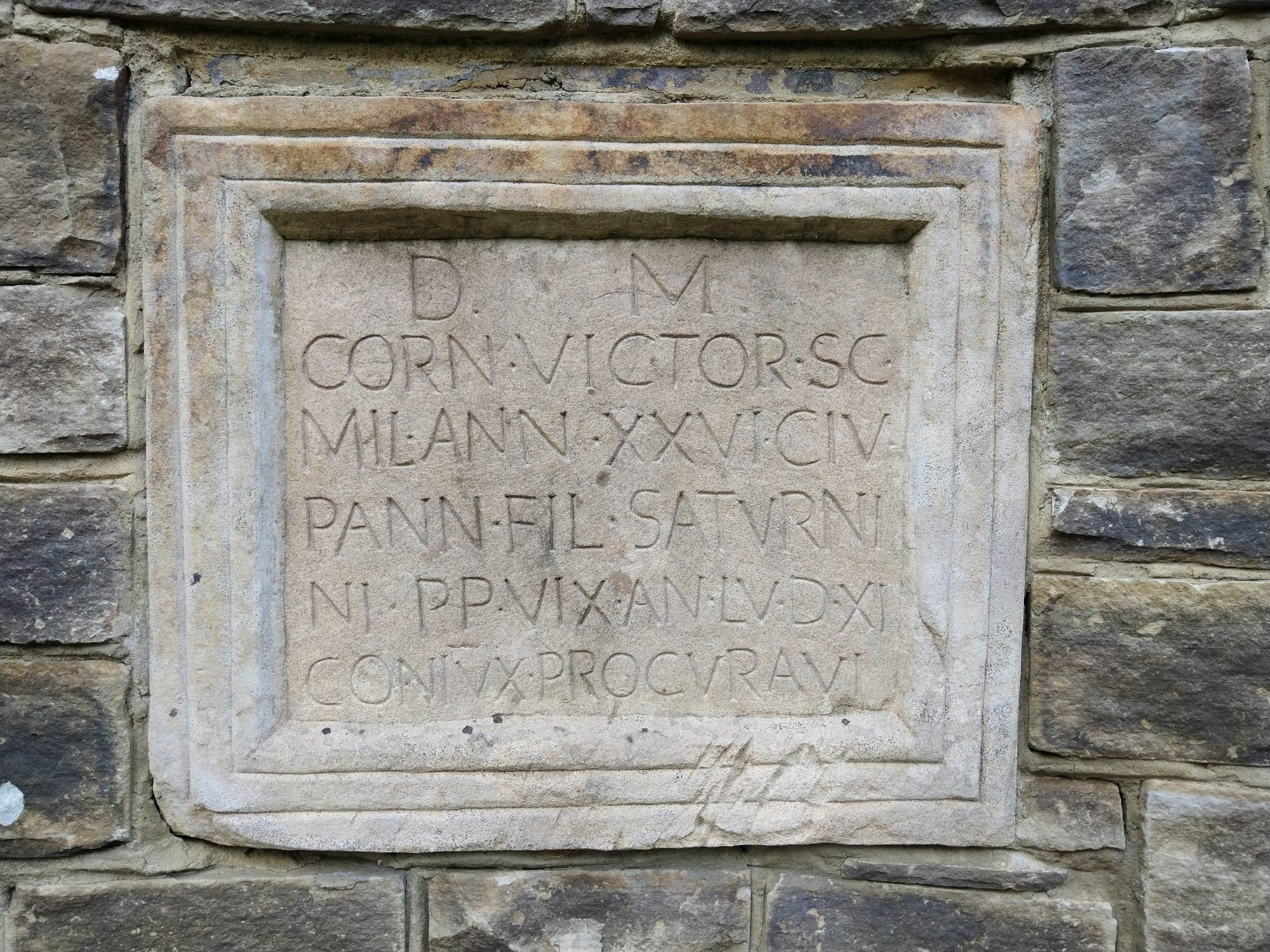 Reproduction of Roman gravestone at Vindolanda